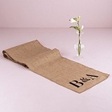 Weddingstar Natural Burlap Table Runner with Equestrian Monogram