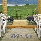 Burlap Personalized Aisle Runner with Wine Country Theme Monogram
