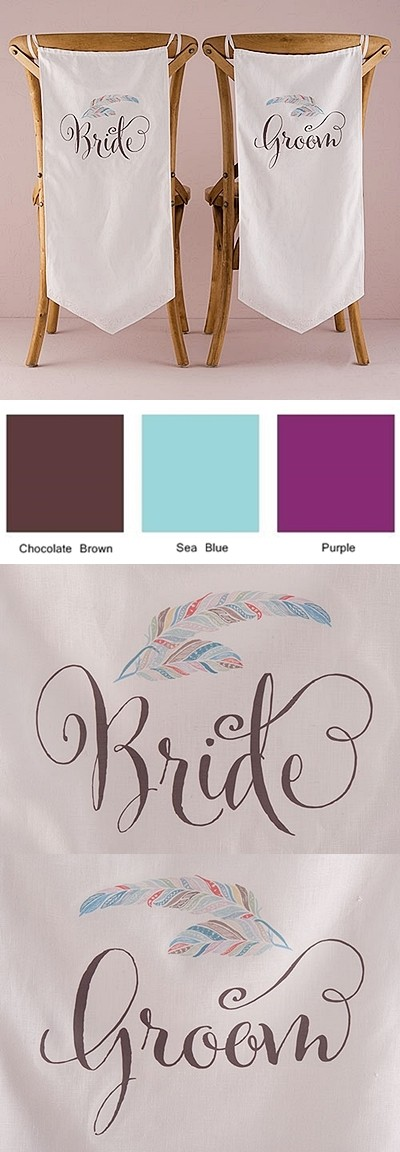 """Feather Whimsy"" Bride & Groom Chair Banner Set (Set of 2)"