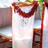 Weddingstar Personalizable Linen Chair Banner with Ribbon Ties
