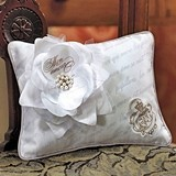 Parisian Love Letter with Blossom Design Matte Satin Ring Pillow