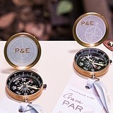 "Personalized ""Vintage Travel"" Brass Compass Favor (Set of 6)"
