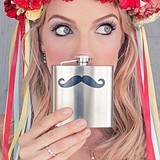 Personalized Handlebar Mustache Design Stainless Steel Flask