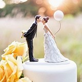 Leaning in For a Kiss & Bride w/ Balloon Porcelain Figurines Cake Top