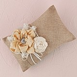 Weddingstar Burlap Chic Ring Pillow with Floral Details and Lace Trim
