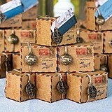 Vintage-Inspired Air Mail Favor Boxes with Charms (Set of 10)