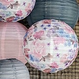Weddingstar Round Paper Lantern with Vintage Floral Print (2 Sizes)