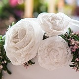 Medium White Decorative Rolled Fabric Lace Flowers (Set of 6)