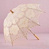 Weddingstar Vintage-Inspired Small Battenburg Ivory-Color Lace Parasol
