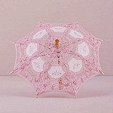 Weddingstar Vintage Pink Battenburg Lace Parasol - Small