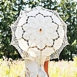 Weddingstar Antiqued Battenburg Ivory-Colored Lace Parasol