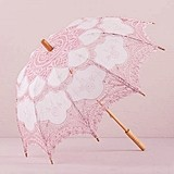 Weddingstar Vintage Pink Battenburg White Lace Parasol - Standard
