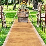 Weddingstar Burlap Aisle Runner w/ Delicate White Floral Lace Borders
