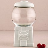 White Ceramic Novelty Gumball Machine Canister/Wishing Well