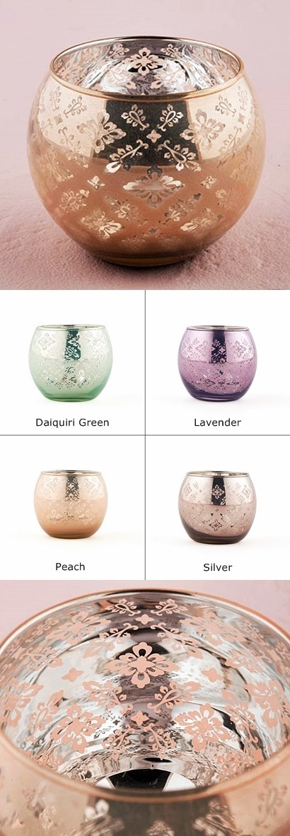 6 Small Globe Candle Holders with Reflective Lace Pattern (5 Colors)