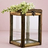Weddingstar Rustic Wood and Glass Box with Hinged Lid and Latch