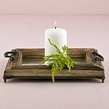 Weddingstar Large Rustic Wood Decorative Tray with Ornamental Handles