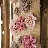 Weddingstar Fabric Ruffle Flower with Jute Hanger (3 Colors; 3 Sizes)