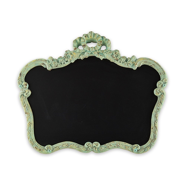 Blackboard in Ornate Vintage-Inspired Frame with Aged Green Finish
