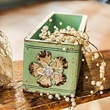 Aged Green Finish Vintage-Inspired Ornate Box with Decorative Pull