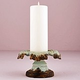 Vintage-Inspired Iron Pillar Candle Holder with Aged Green Finish