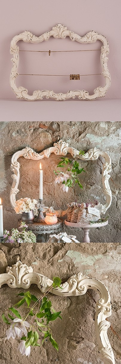 Open Ornate Vintage-Inspired Frame with Antique White Finish