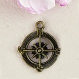 Weddingstar Compass Charms with Antique Brass Finish (Set of 12)