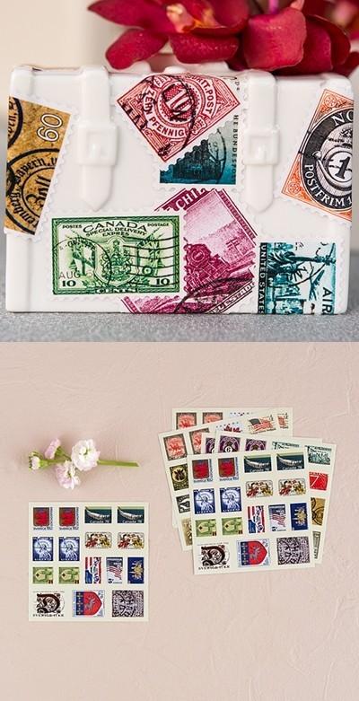 """Countries Around the Globe"" Postage Stamp Stickers"