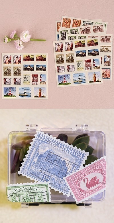 """Global Destinations"" Postage Stamp Sticker Assortment"
