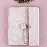 White Bohemian-Style Embossed Leather-Bound Journal/Guest Book