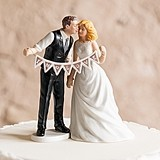Shabby Chic Porcelain Figurines Cake Topper w/ 'In Love' Pennant Sign