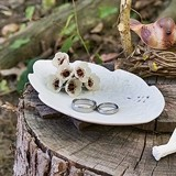 Weddingstar White Porcelain Leaf Ring Plate with Embossed Pattern
