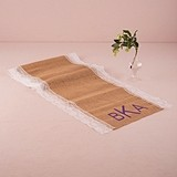 Weddingstar Burlap and Lace Table Runner - Geo Monogram Print
