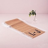 Natural Burlap Table Runner with Lace Edging and Vineyard Monogram