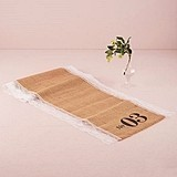 Natural Burlap Table Number Table Runner with Lace Edging (Nos. 01-48)