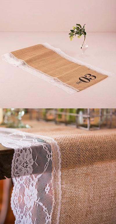 Natural Burlap Table Number Table Runner With Lace Edging (Nos. 01 48)