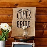 "Natural Burlap ""Here Comes the Bride"" Ceremony Sign (Black)"