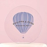 Vintage Travel Hot Air Balloon Design Personalized Round Cake Topper