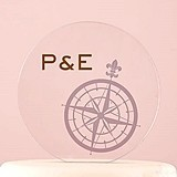 Vintage Travel Compass Design Personalized Round Cake Topper