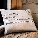 """Eternal"" Natural Linen Ring Pillow with Vintage Type"