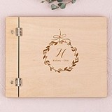 Personalized Wooden Wedding Guest Book with Botanical Wreath Etching