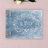 Custom Clear Acrylic Wedding Guest Book with Modern Fairy Tale Etching