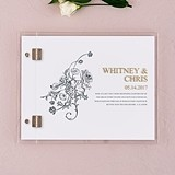 Custom Clear Acrylic Wedding Guest Book w/ Antique Chic Floral Etching