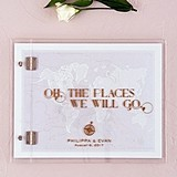 Vintage Travel Motif Personalized Guest Book with Clear Acrylic Cover