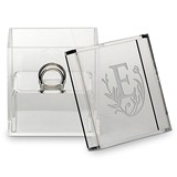 Personalized Acrylic Wedding Ring Box with Modern Fairy Tale Etching