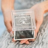 """""""The Adventure Begins"""" Personalized Acrylic Wedding Ring Box"""