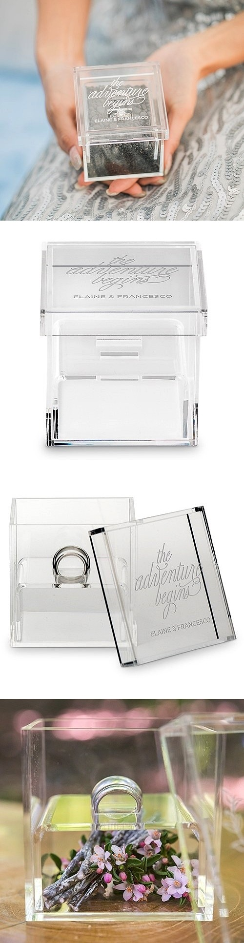 """The Adventure Begins"" Personalized Acrylic Wedding Ring Box"