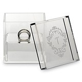 Personalized Acrylic Wedding Ring Box with Classic Filigree Etching