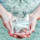 """Feather Whimsy"" Design Personalized Acrylic Ring Box"