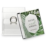 Personalized Acrylic Wedding Ring Box with Greenery Printing
